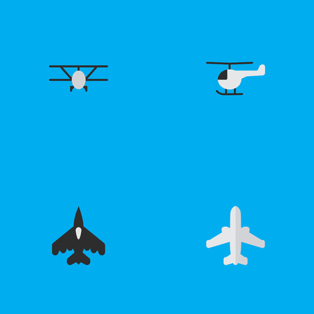 Elements Flying Vehicle, Copter, Airliner And Other Synonyms Airplane, Craft And Plane.  Vector Illustration Set Of Simple Aircraft Icons.