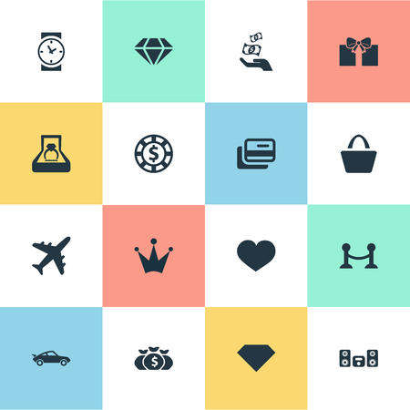 prestige: Elements Clock, Satchel, Chip And Other Synonyms Car, Money And Soul.  Vector Illustration Set Of Simple Money Icons.