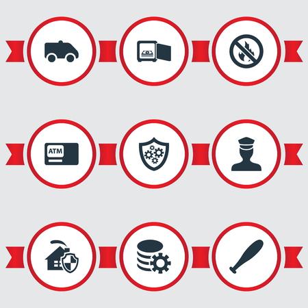 Elements Automatic Teller Machine, Gear, No Fire et autres synonymes, Gear, Shield And Home. Illustration vectorielle définie des icônes de sécurité simples.