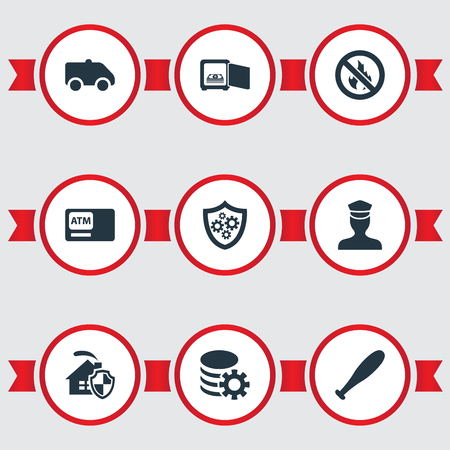 Elements Automatic Teller Machine, Gear, No Fire And Other Synonyms Gear, Shield And Home.  Vector Illustration Set Of Simple Safety Icons. Illustration
