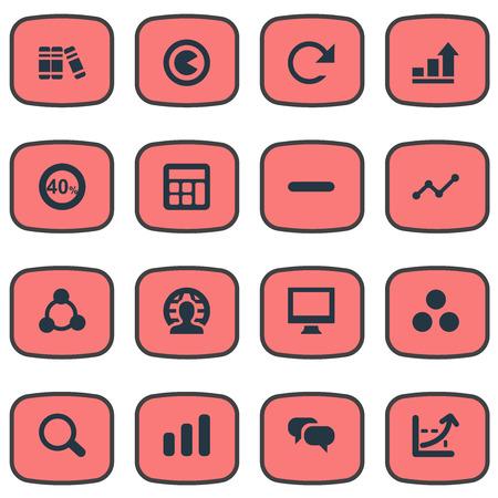 Elements Component, Segmentation, Discount And Other Synoniemen Calculator, Remove And Bookshelf. Vector illustratie Set van eenvoudige statistiek iconen.