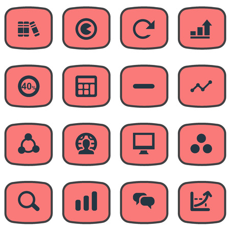 Elements Component, Segmentation, Discount And Other Synonyms Calculator, Remove And Bookshelf.  Vector Illustration Set Of Simple Statistic Icons.