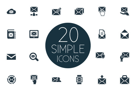 Elements Receiver, Pages, Portfolio And Other Synonyms Tablet, News And Notification.  Vector Illustration Set Of Simple Mail Icons.