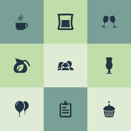 要素の親、板紙、コーヒー後期および他の同義語の親、クリップボードと板紙。 シンプルなフードアイコンのベクトルイラストセット。