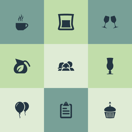 Elements Parents, Paperboard, Coffee Late And Other Synonyms Parents, Clipboard And Paperboard.  Vector Illustration Set Of Simple Food Icons.