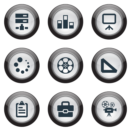 Elements Server, Clipboard, Camcorder And Other Synonyms Variety, Movie And Colums.  Vector Illustration Set Of Simple Icon Icons.