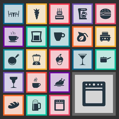 Illustration vectorielle définie des icônes de la cuisine simple. Éléments Verre À Vin, Volaille Grillée, Blé Et Autres Synonymes Coupe, Casserole Et Snack. Banque d'images - 85422024