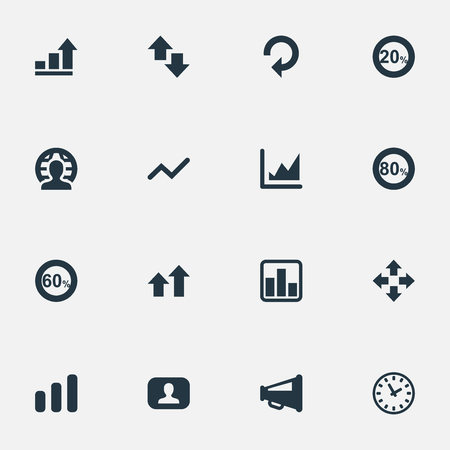 Vector Illustration Set Of Simple Diagram Icons. Elements Megaphone, Chart, Percentage And Other Synonyms Eighty, Speaker And Line.