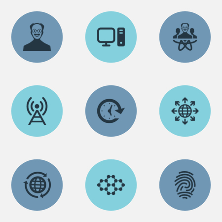 Vector Illustration Set Of Simple Invention Icons. Elements Globe, PC, Power And Other Synonyms Scientist, Globe And Scholar.