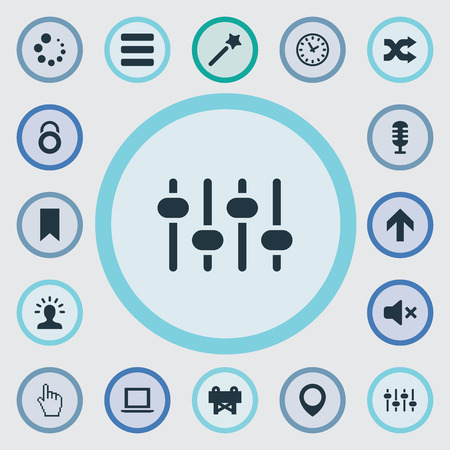 Elements Silence, Downloading, Microphone And Other Synonyms Bookmark, Karaoke And Loading.  Vector Illustration Set Of Simple Interface Icons. Illustration