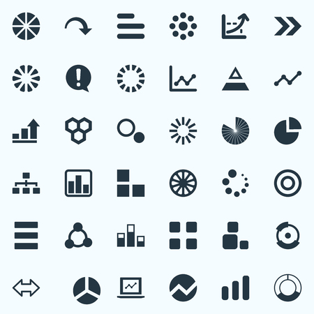 Elements Decline, Pattern, Circular And Other Synonyms Bowl, Progress And Circus.  Vector Illustration Set Of Simple Graph Icons. 向量圖像