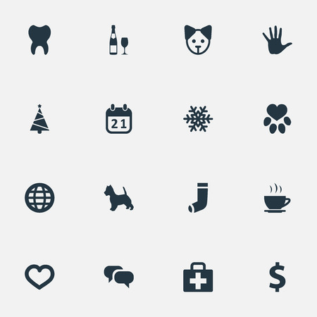 Elements Money, Message, Alcohol And Other Synonyms Paw, Soul And Christmas.  Vector Illustration Set Of Simple Brood Icons.