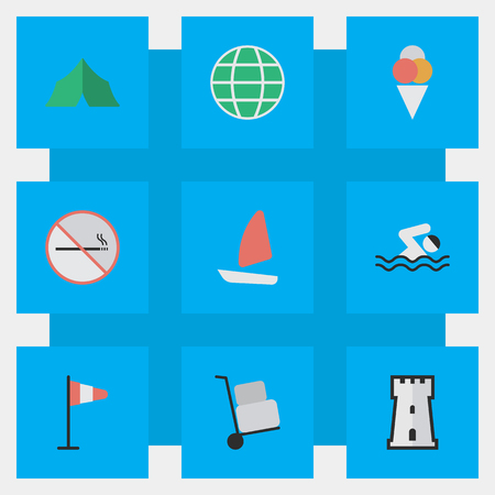 Elements Camping, Boat, Tower And Other Synonyms Sailboat, Flag And Hand.  Vector Illustration Set Of Simple Relax Icons.