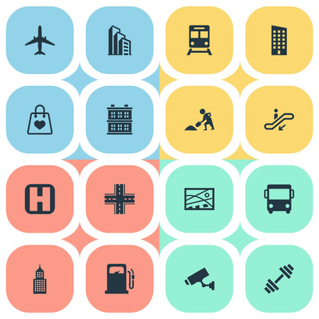 Vector Illustration Set Of Simple City Icons. Elements Supervision, Airplane, Autobus And Other Synonyms Worker, Station And Cityscape.