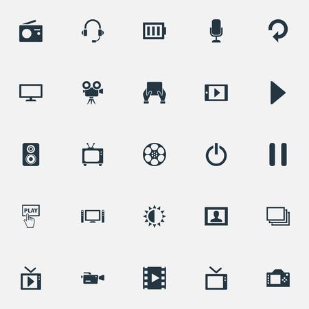 Elementen statief, videocamera, opladen en andere synoniemen Stop, Telly en reload. Vector illustratie Set van eenvoudige media iconen. Vector Illustratie