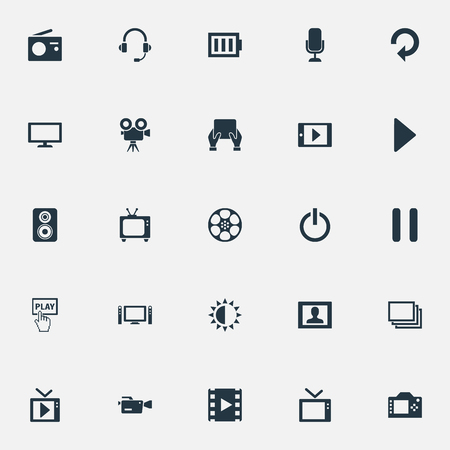 Elements Tripod, Video Camera, Charge And Other Synonyms Stop, Telly And Reload.  Vector Illustration Set Of Simple Media Icons.