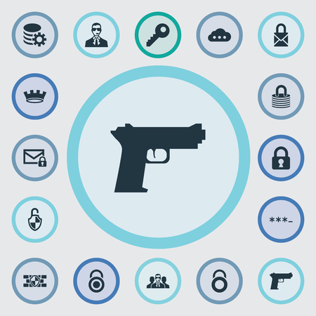 Elements Storage, Gear, Key And Other Synonyms Man, Bodyguard And Storage.  Vector Illustration Set Of Simple Secure Icons.