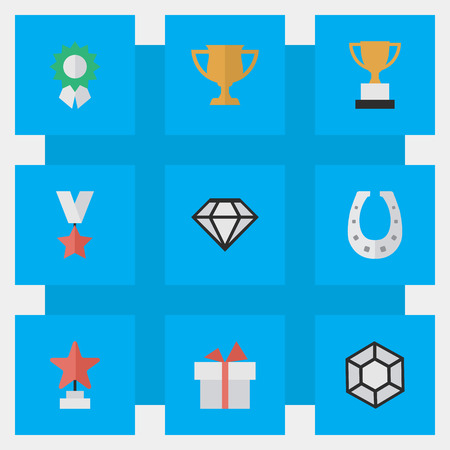 Elements Present, Trophy, Goblet And Other Synonyms First, Medal And Horseshoe.  Vector Illustration Set Of Simple Champion Icons. Illustration