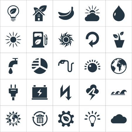 Elements Volume, Droplet, Weather And Other Synonyms Bin, Industry And Tropical.  Vector Illustration Set Of Simple Power Icons.
