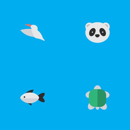 Elementen dragen, kraanvogels, baars en andere synoniemen baars, zeevruchten en vogels. Vector illustratie Set van eenvoudige wilde pictogrammen. Stock Illustratie