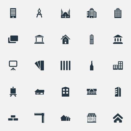 요소 사무실, 첨탑, 이슬람 기념물 및 다른 동의어 Edifice, 모스크 및 아키텍처입니다. 벡터 일러스트 레이 션 간단한 건설 아이콘의 집합입니다.