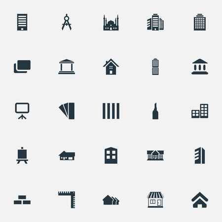Elements Offices, Steeple, Islamic Monument And Other Synonyms Edifice, Mosque And Architecture.  Vector Illustration Set Of Simple Construction Icons.