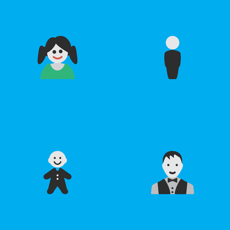 Elements Person, Female, Male And Other Synonyms Guy, Child And Human.  Vector Illustration Set Of Simple Person Icons. Ilustrace