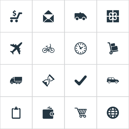 Elements Airline, Mailing, Complete And Other Synonyms Market, Shopping And Online.  Vector Illustration Set Of Simple Distribution Icons.