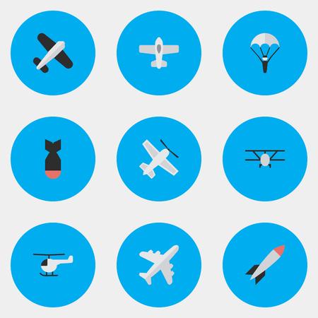 벡터 일러스트 레이 션 간단한 비행기 아이콘의 집합입니다. 요소 투석기, 비행기, 항공기 및 기타 동의어 차량, 헬리콥터 및 항공. 스톡 콘텐츠 - 85418168