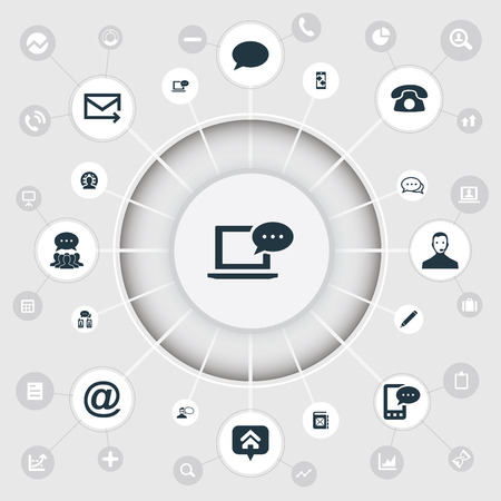 Elements Online Support, Home Mark, Posting And Other Synonyms Comment, Address And Mail.  Vector Illustration Set Of Simple Communication Icons. Illustration