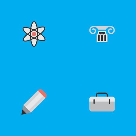 要素の列、ペン、ブリーフケースやその他の同義語のハンドバッグ、ブリーフケースと列。 シンプルな教育アイコンのベクトルイラストセット。