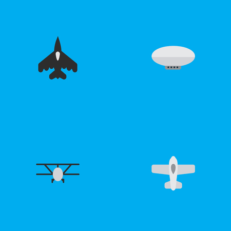 Elements Balloons, Plane, Airplane And Other Synonyms Aircraft, Balloons And Airship.  Vector Illustration Set Of Simple Aircraft Icons. Çizim
