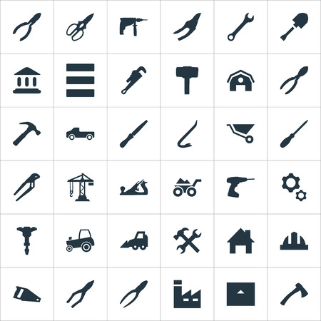 Vector Illustration Set Of Simple Construction Icons. Elements Nippers, Workshop, Electric Screwdriver And Other Synonyms Barn, Tomahawk And Excavator. Illustration