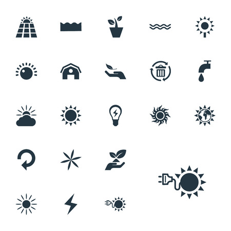 ray of light: Elements Innovation, Sunglow, Barn And Other Synonyms Day-Star, Plant And Sea.  Vector Illustration Set Of Simple Green Icons.