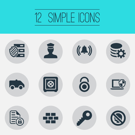Vector Illustration Set Of Simple Security Icons. Elements Siren, Camion, Policeman And Other Synonyms Hacking, Wall And Dartboard.