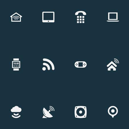 Elements Network, Wireless Connection, Smart House And Other Synonyms Storage, Connection And Computer.  Vector Illustration Set Of Simple Smart Icons.