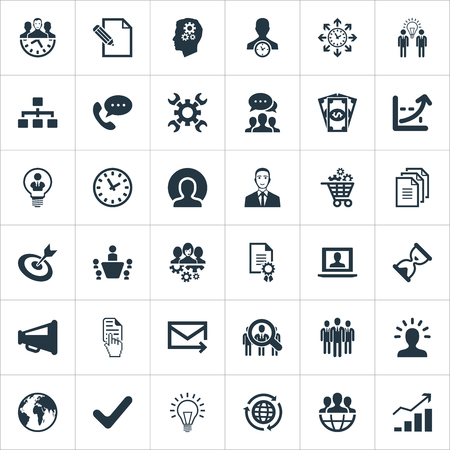 Elements Global Trade, Headhunting, Online Support And Other Synonyms Advertising, Plan And Director.  Vector Illustration Set Of Simple Strategy Icons. Illustration