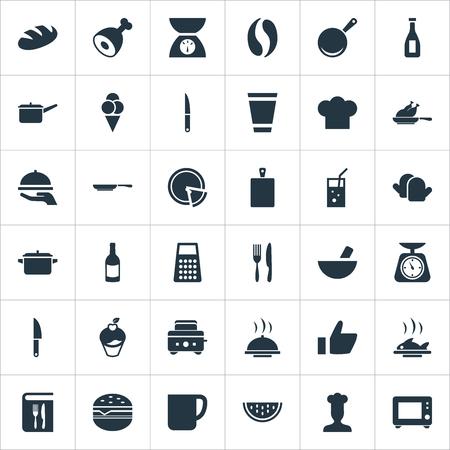 シンプルなフードアイコンのベクトルイラストセット。要素の鍋、木、パン、その他の同義語肉、ボード、鍋。