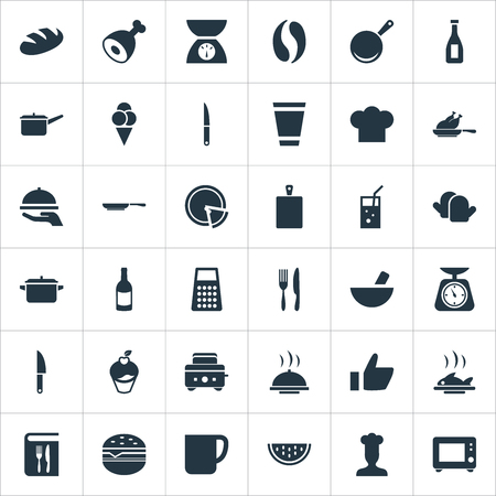 Vector Illustration Set Of Simple Food Icons. Elements Saucepan, Chopping Wood, Loaf And Other Synonyms Meat, Board And Saucepan.