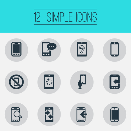 Vector Illustration Set Of Simple Mobile Icons. Elements Outgoing Calls, Smartphone, Search And Other Synonyms Downloading, Forbidden And Call. Illustration