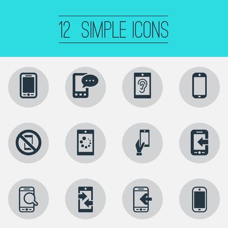 Vector illustratie Set van eenvoudige mobiele pictogrammen. Elementen Uitgaande gesprekken, Smartphone, zoeken en andere synoniemen downloaden, verboden en bellen. Stock Illustratie