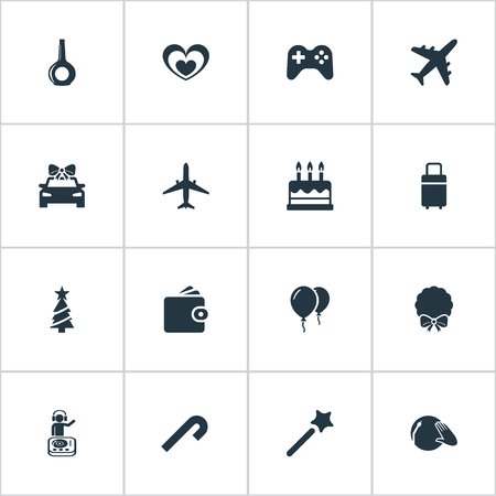 Vector Illustration Set Of Simple Vacation Icons. Elements Door Decoration, Striped Candy, Wallet Synonyms Alcohol, Pastry And Aircraft.