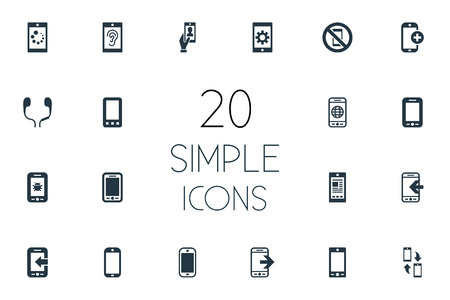 Vector Illustration Set Of Simple Telephone Icons. Elements Inbounding, Portable Connector, Hearing And Other Synonyms Listening, Communicator And Forbidden.