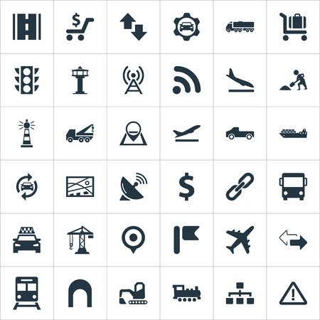 Elements Aviation, Cargo Shipping, Subway And Other Synonyms Bulldozer, Algorithm And Economy.  Vector Illustration Set Of Simple Transportation Icons.