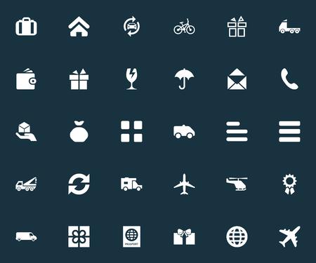 Ilustración vectorial Conjunto de iconos de entrega simple. Elementos de reparación de automóviles, moña, cuestionario y otros sinónimos lluvia, bolsa y correo. Foto de archivo - 85418093