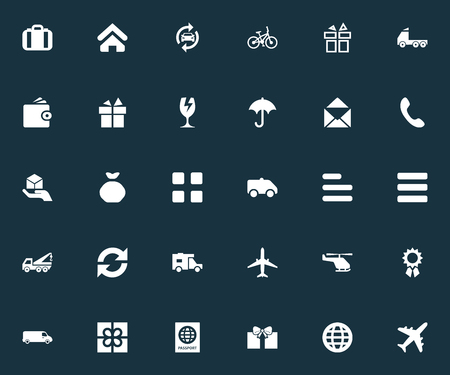 Vector Illustration Set Of Simple Delivery Icons. Elements Car Repair, Gingham, Questionnaire And Other Synonyms Rain, Pouch And Mail. 向量圖像