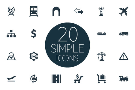 Elements Development Scheme, Navigation, Car Workshop And Other Synonyms Fuel, Workshop And Sign.  Vector Illustration Set Of Simple City Icons. Ilustracja