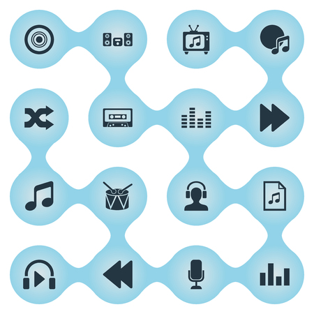 Vector Illustration Set Of Simple Melody Icons. Elements Equalizer, Listen, Barrel And Other Synonyms Sound, Compact And Megaphone.