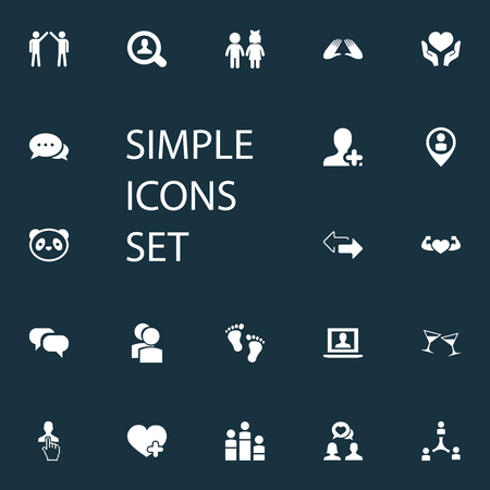 Vector Illustration Set Of Simple Mates Icons. Elements Bodybuilding, Pinpoint, Barefoot And Other Synonyms Person, Winner And Toy.