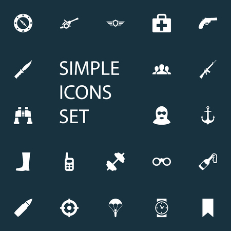 Vector Illustration Set Of Simple War Icons. Elements Medical Kit, Goal, Shield And Other Synonyms Spyglass, Paratrooper And M4A1. Illustration